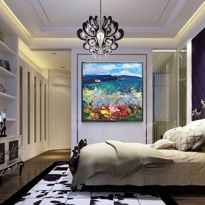 100 Hand Painted Abstract Colorful Scenery Painting On Canvas Wall Art Wall Adornment Picture Painting For Live Room Home Decor in Painting Calligraphy from Home Garden