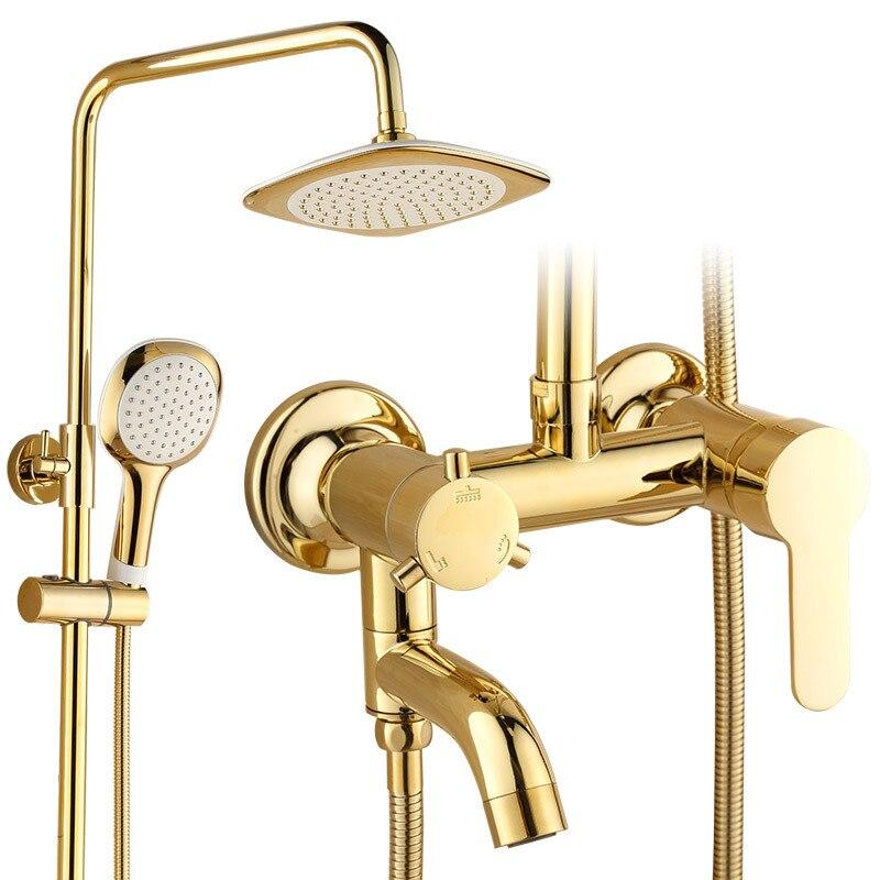 Salle de bain or robinets de douche cuivre mitigeur de douche robinet Set pluie pomme de douche rond mural baignoire robinet douchette
