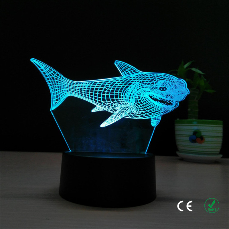 Creative shark LED small night lamp personality Shenzhen small night lamp manufacturers selling 3 d stereo