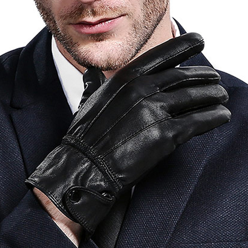 RITOPER Genuine Leather Gloves Sheepskin Male Sheepskin Gloves Winter Fashion Thick Thermal Classic Business Leisure Warm 2018