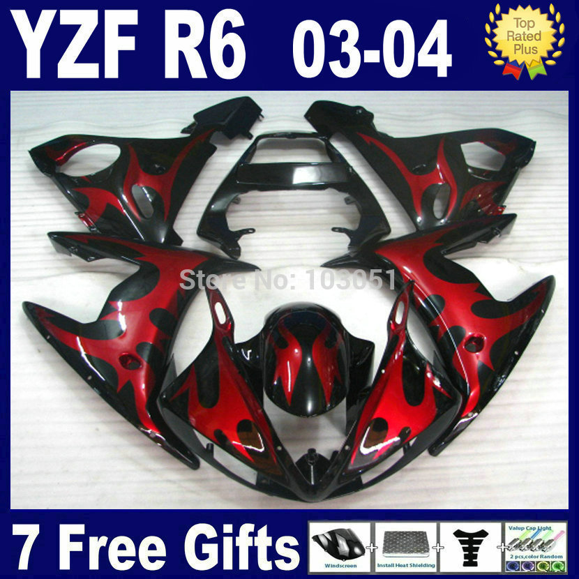Custom free motorcycle fairings kit For Yamaha 2003 2004 2005 YZFR6 red big flame  YZF R6 2003 2004 2005  03 04 05 body repair F 6 colors cnc adjustable motorcycle brake clutch levers for yamaha yzf r6 yzfr6 1999 2004 2005 2016 2017 logo yzf r6 lever
