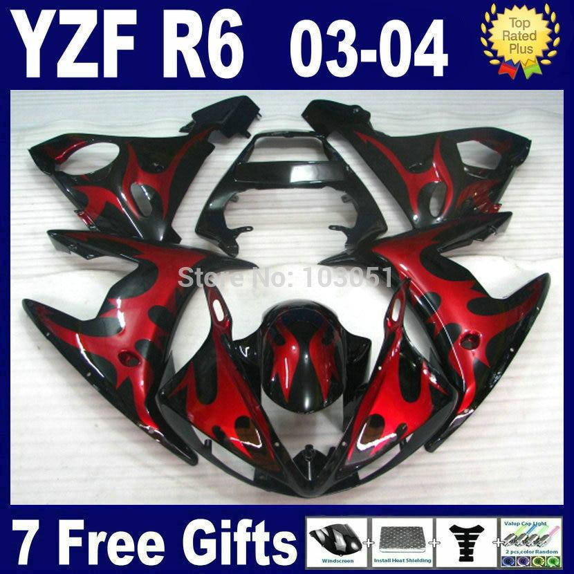 Custom livraison moto carénages kit pour Yamaha 2003 2004 2005 YZFR6 rouge grande flamme YZF R6 2003 2004 2005 03 04 05 réparation de carrosserie F