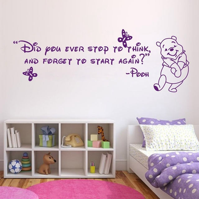 Gratis pengiriman ebay amazon menjual panas winnie the pooh wall sticker kartun wall art