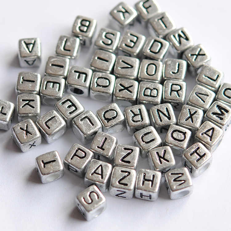 Acrylic Mix LETTER Mix Colour Round ALPHABET Charms Loose BEADS 7.5MM