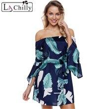 ca70b6a8984 La Chilly Vestido Playa 2018 Dames Kleding Summer Boho Dresses Women Tropical  Leaf Print Navy Off Shoulder Mini Dress LC220316