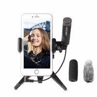 Mini Microfono di Registrazione Condensatore Palmare Microfono per iPhone Android Smardphones Con Il Cellulare Treppiede per Canon Nikon Camera