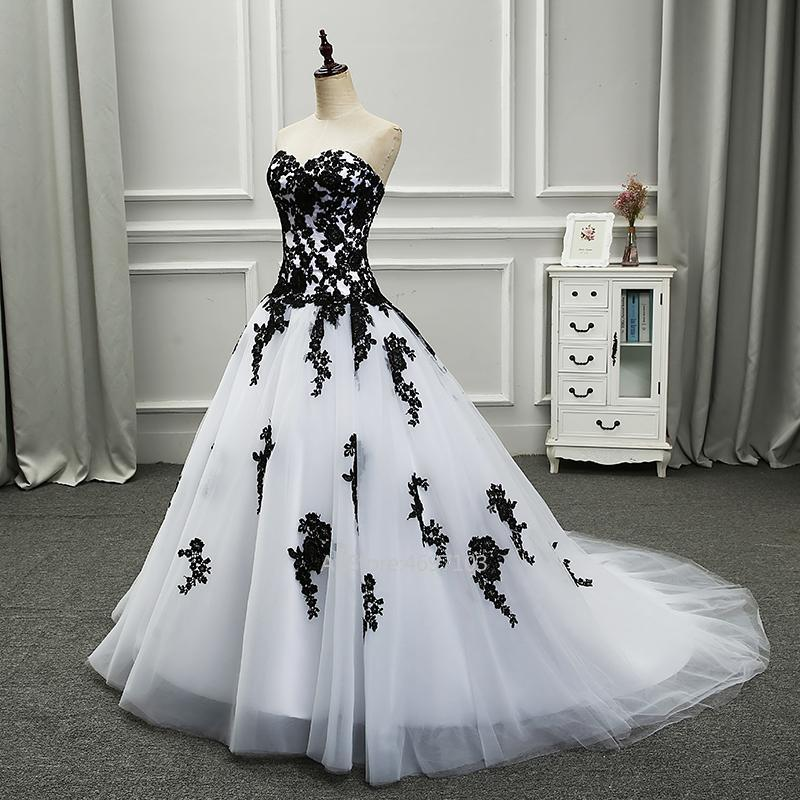White Black Elegant White And Black Wedding Dresses Appliqued Sweetheart Bridal Gowns Tulle Custom Made
