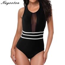 2019 Sexy One piece Swimsuit new black Mesh swimming suit for women Monokini Bodysuit Bathing Suits Summer Beach swimwear