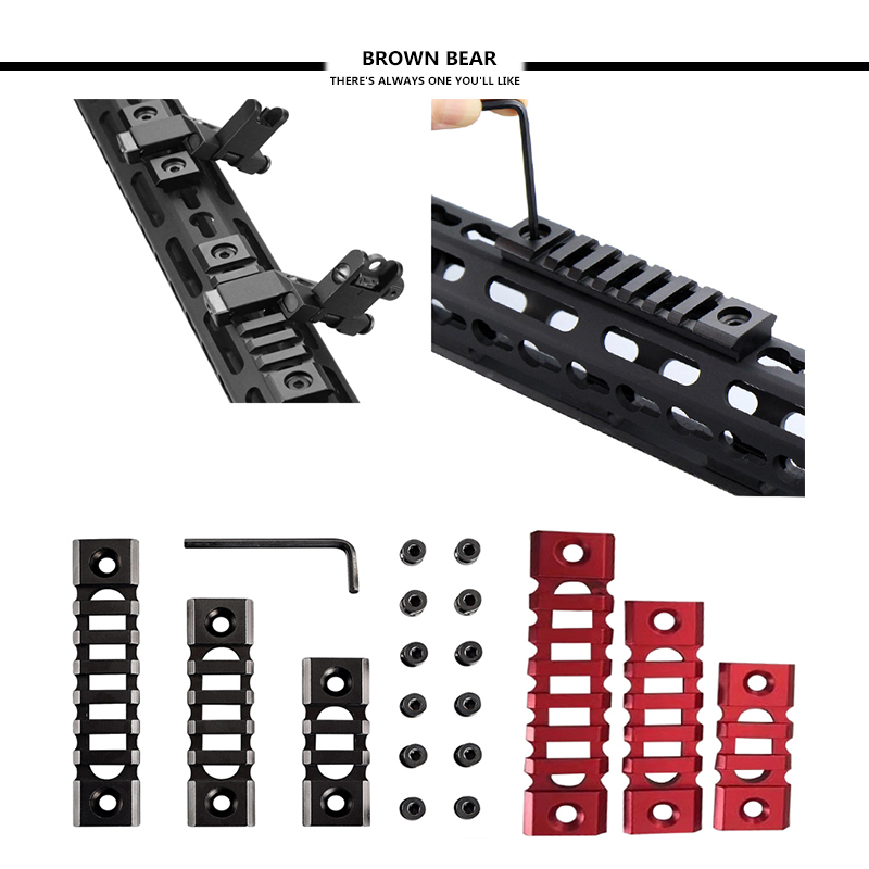 3/5-Slots/7-Slots Light weight Picatinny Rail Section for Keymod Handguard Mount Rail System with 3 Allen Wrench black or Red unique chinese red 13 5 ultralight key mod handguard rail mount with steel barrel nut 3 pcs rail section
