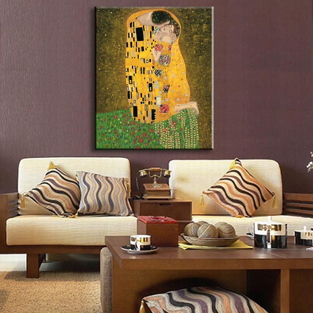 Pintura de la mano réplica del beso de Gustav Klimt pintura al óleo ...