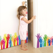 Cartoon Colorful Palm Baseboard Wall Sticker Kindergarten Childrens Room For Kids Rooms Stickers Home Decor