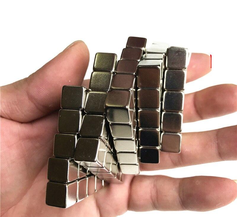 64 pcs 5x5x5 Rare Earth ímã De Neodímio bloco pequeno Forte permanente 5*5*5mm Eletroímã imã NdFeB níquel quadrado magnético