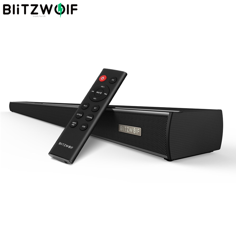 BlitzWolf BW-SDB1 bluetooth Soundbar Speaker TV 60W HDMI 36-polegada de 2.0 Canais de Áudio Sem Fio Smart Home Theater Som bar Preto