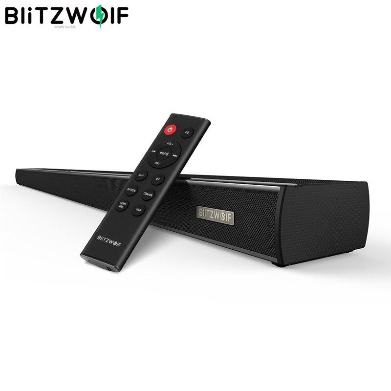 BlitzWolf BW-SDB1 bluetooth Soundbar TV Speaker 60W HDMI 36-inch 2.0 Channel Wireless Audio Smart Home Theater Sound Bar Black
