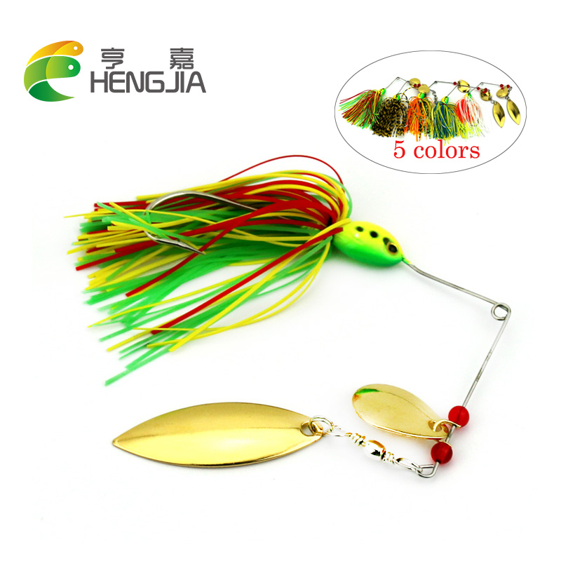 HENGJIA Spinnerbaits Rotating Sequins Lead Head Fluff Pike Fishing Lures Buzzbaits Little Fat 16.3g Isca Pesca Fishing Tackles