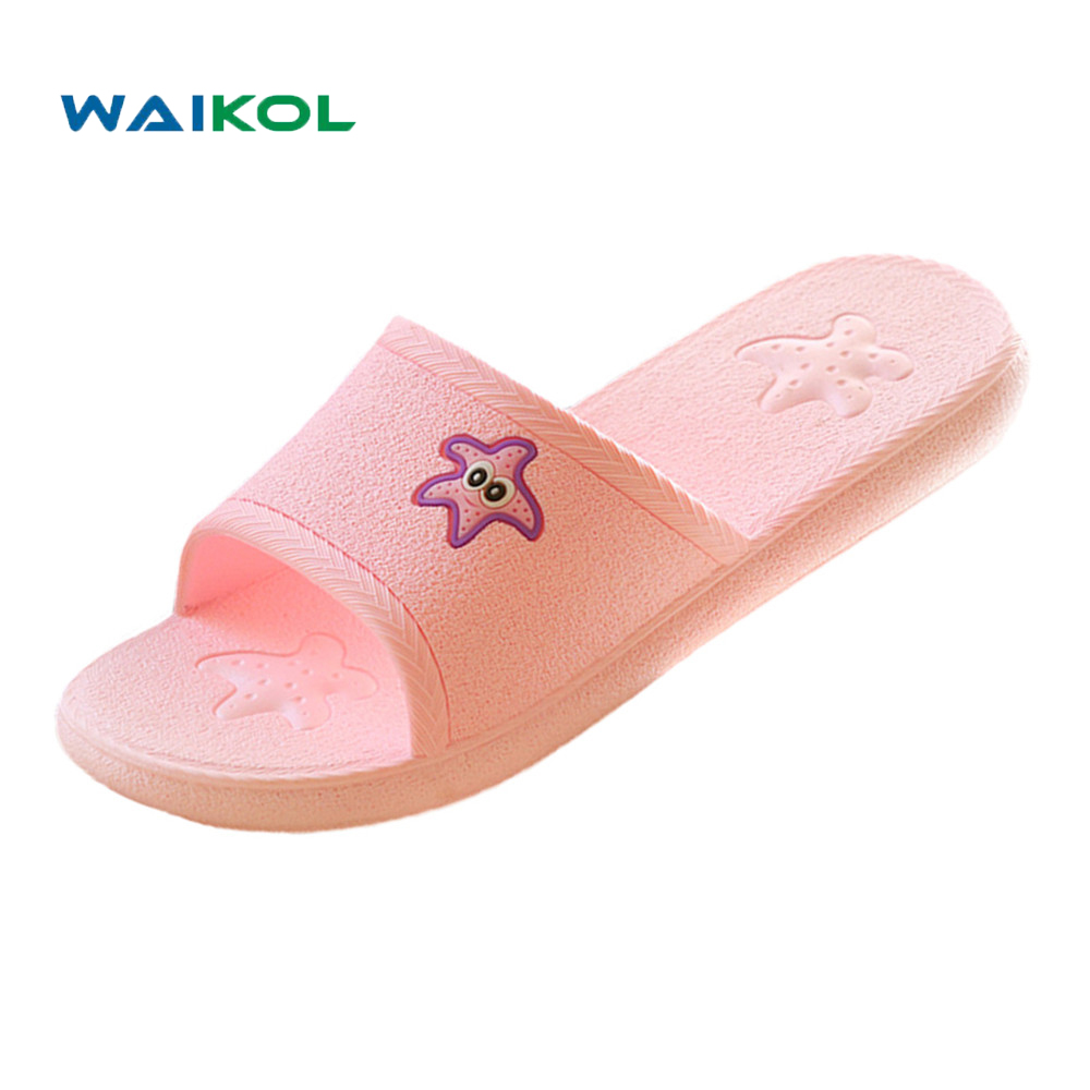 цены Waikol Women Summer Sandals Beach Bathroom Platform Slippers Casual Shoes Female Fashion Home Interior Bathroom Star Flip Flops