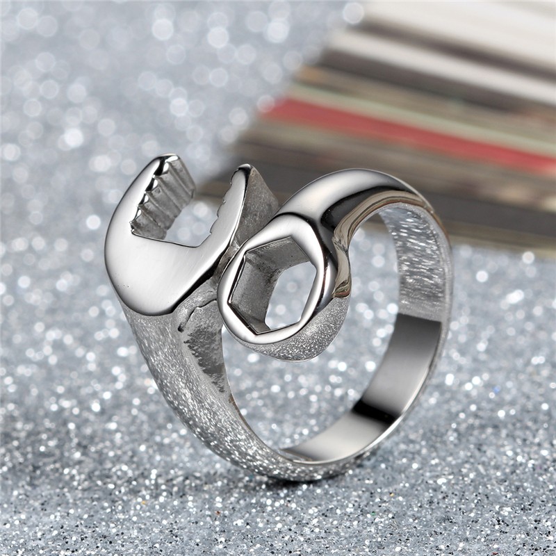 Cool Men Stainless Steel Wrench Biker Rings Punk Hip Hop Band Open Ring Jewelry