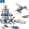 Delegacia de polícia KAZI Educação Blocos de Construção de Helicópteros Modelo de Barco Tijolos Brinquedos Compatível Com famosa marca de brinquedos de Presente de Aniversário
