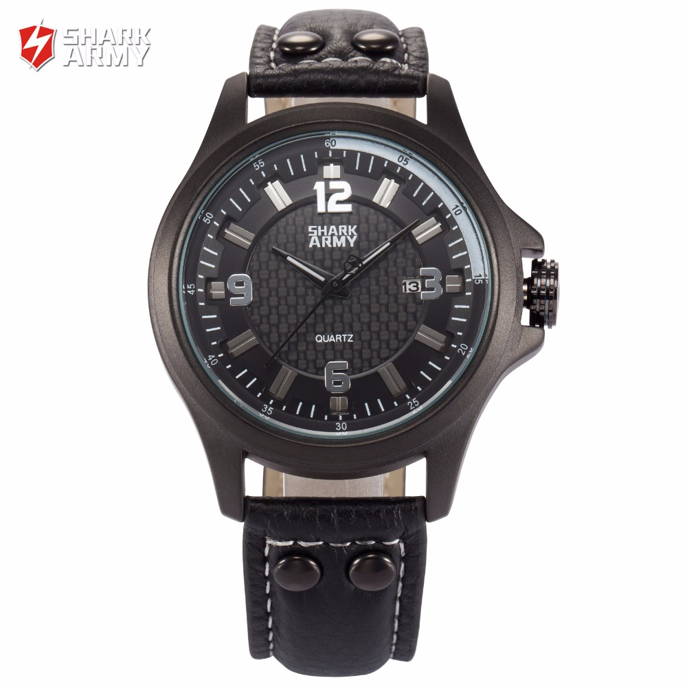 SHARK ARMY Black 3D Electroplate Analog Date Leather Strap Waterproof Quartz Men Sport Military Wrist Watch for Men/ SAW141 goblin shark sport watch 3d logo dual movement waterproof full black analog silicone strap fashion men casual wristwatch sh165