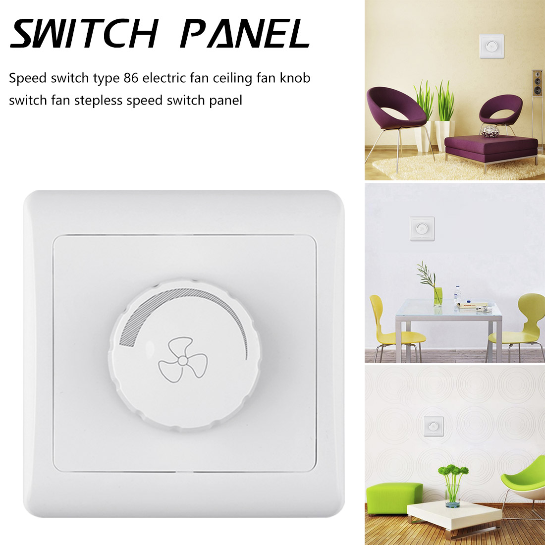220V 10A  Dimmer Light Switch Adjustment Light Control Ceiling Fan Speed Control Switch Wall Button Dimmer Switch