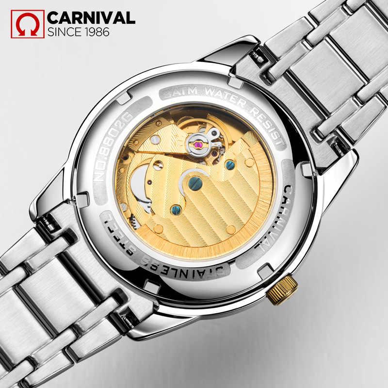 Carnival T25 Tritium Automatic Watch Men Luminous Mechanical Watches  Business Mens Clock Stainless Steel Wristwatch reloj hombre