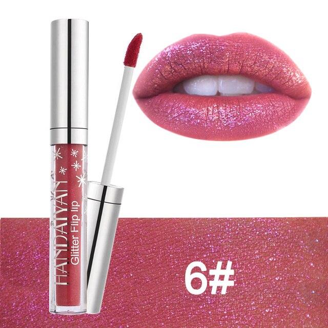 HANDAIYAN marca diamante brillo metálico pintalabios 7 colores encantador tatuaje de larga duración líquido lápiz labial brillo en polvo brillo de labios