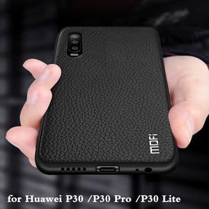 Image 1 - Funda de silicona para Huawei P30 Pro, carcasa para P30 Lite Nova 4E, carcasa trasera de cuero PU, TPU, MOFi Original Ascend