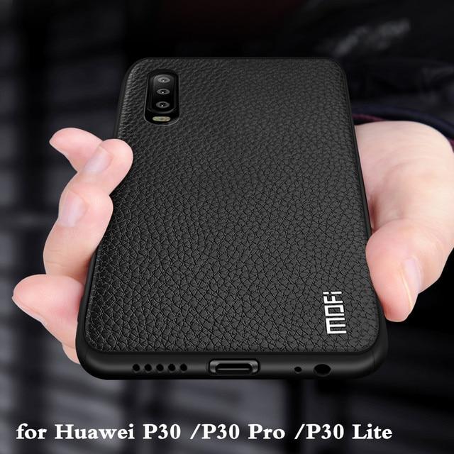 Funda de silicona para Huawei P30 Pro, carcasa para P30 Lite Nova 4E, carcasa trasera de cuero PU, TPU, MOFi Original Ascend