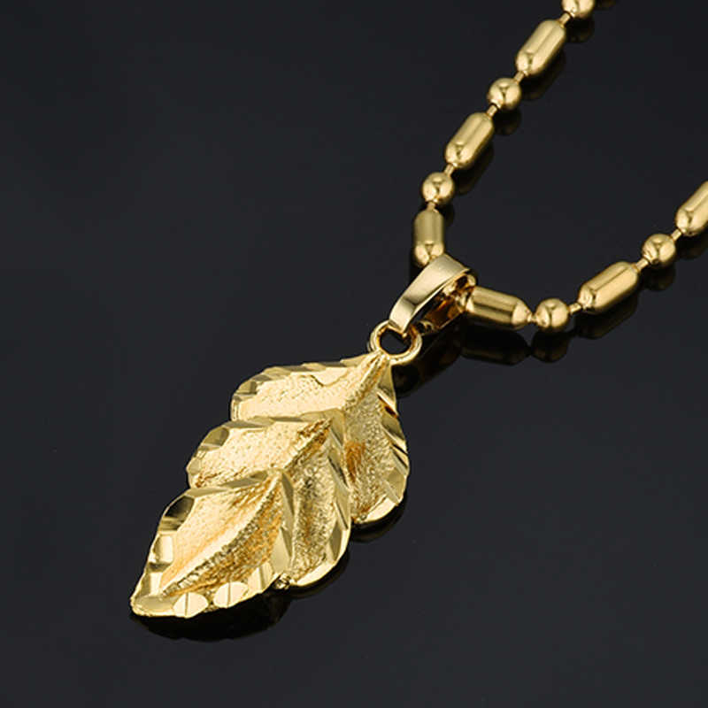 Small Leaf Necklaces for Women/Girls Silver Gold Color Femme Pendant Bead Chain Simple Jewelry Gift