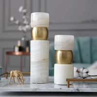 Luxurious Creative White Cylindrical Marble Statue Home Decor Crafts Room Decoration Objects Ornament Candlestick Figurine Gifts