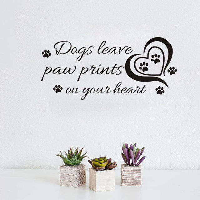 Removable Dogs Leave Paw Prints On Your Heart Decal Wall Stickers Vinyl Decor Dogs leaves wall  sc 1 st  AliExpress.com & Removable Dogs Leave Paw Prints On Your Heart Decal Wall Stickers ...