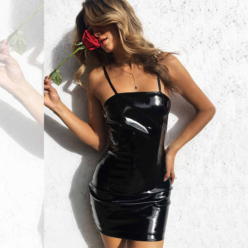 3d40868aa65 ... overall dress women suspenders sexy vinyl pu latex leather dress  bodycon dresses woman party night club ...