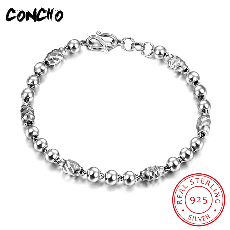 Concho Jewelry 925 Sterling Round Beads Shape Bracelet for Men Anniversary Grace Gift 2018 Limited Quantity Original Jewelry цена