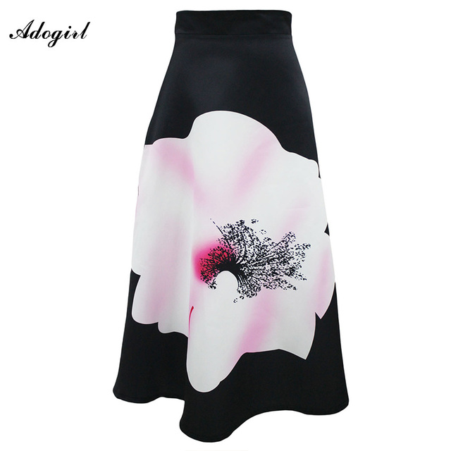 Adogirl Women Long Maxi Skirts Flower Print Black High Waist Maxi Skirt Vintage Painting High Waist Maxi Skirts Saia Femininas