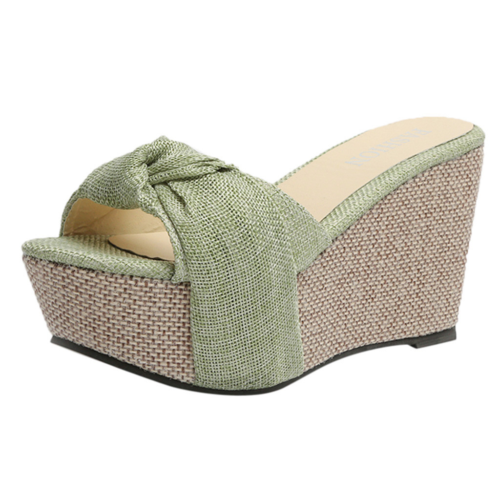 SAGACE Bow Sandals Shoes Wedge Platform High-Heel Slip-On Sexy Peep-Toe Casual Summer
