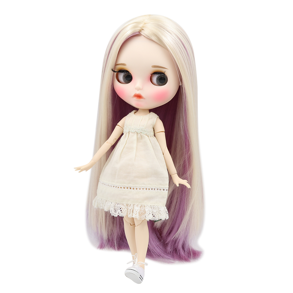 Blyth nude doll white skin Elegant mixed color straight hair 1 6 JOINT body new matte