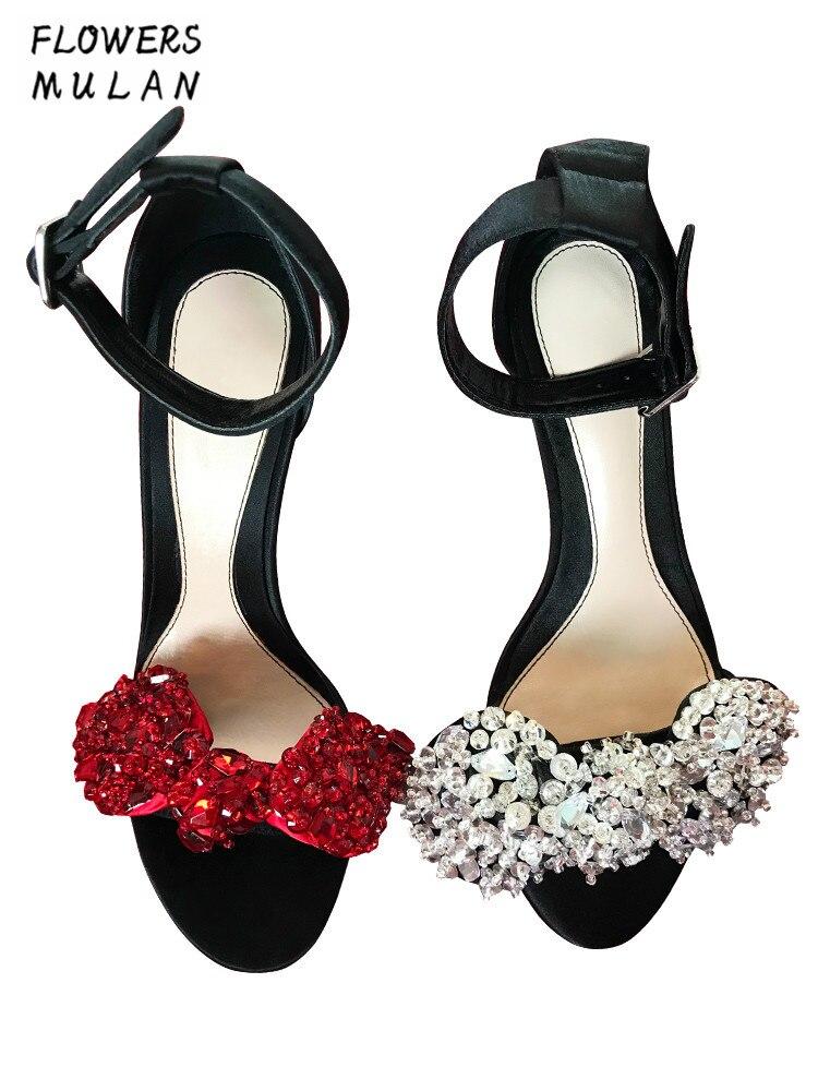 noeud Sandales Fille Talon Talons Hauts Grand argent Une Plus Taille Chaussures Rouge Femme Gladiateurs Papillon De Boucle Cristal Supérieur La Couverture Luxe EHI2W9YD