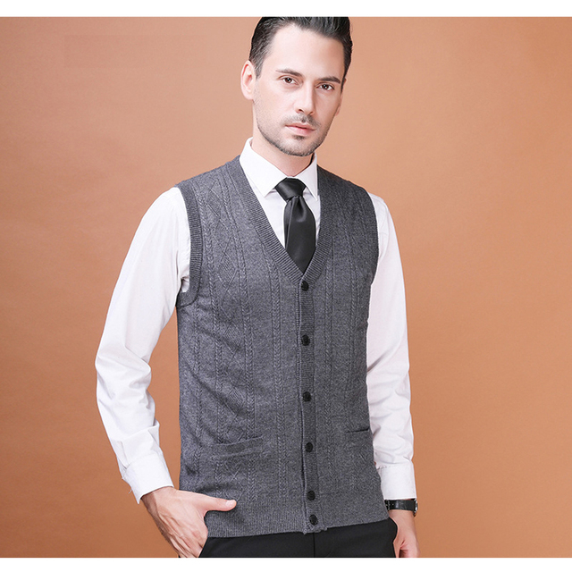 Men's Wool Sweater Cardigan Sleeveless Buttons Down Basic Knit ...