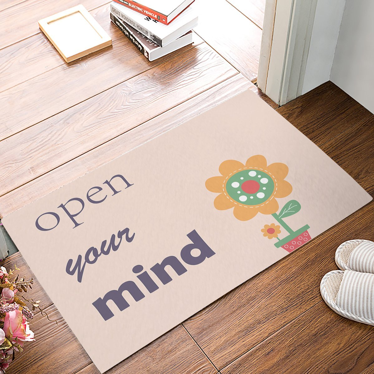 Open Your Mind - Small Potted Plant Sunflower Door Mats Kitchen Floor Bath Entrance Rug Mat Absorbent Indoor Bathroom