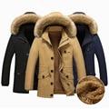 2016 new fashion men's casual Hooded coat Fur collar cashmere thick warm mens winter clothes 3 colors large size M-XXLXXXL4XL5XL
