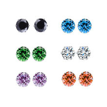 High Quality Crystal Earrings For Women Silver Color Cubic Zirconia Fashion Brand Stud Earring Female Jewelry Wholesale Prices(China)