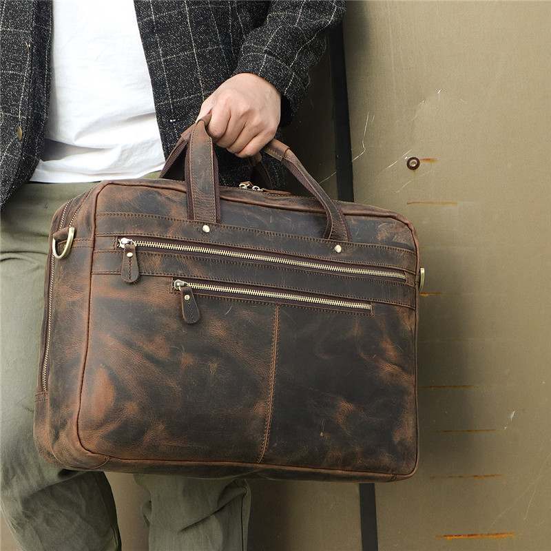 Nesitu Vintage Large Genuine Crazy Horse Leather 17'' Laptop Office Men Briefcase Portfolio Business Travel Messenger Bags M7389