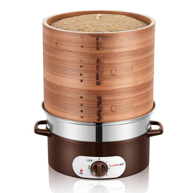 22%,28cm Natural bamboo Steam Pot 3 Layer Thicken Hot Pot Cooker Anti-dry Electric steamer Stainless steel base 1350W22%,28cm Natural bamboo Steam Pot 3 Layer Thicken Hot Pot Cooker Anti-dry Electric steamer Stainless steel base 1350W