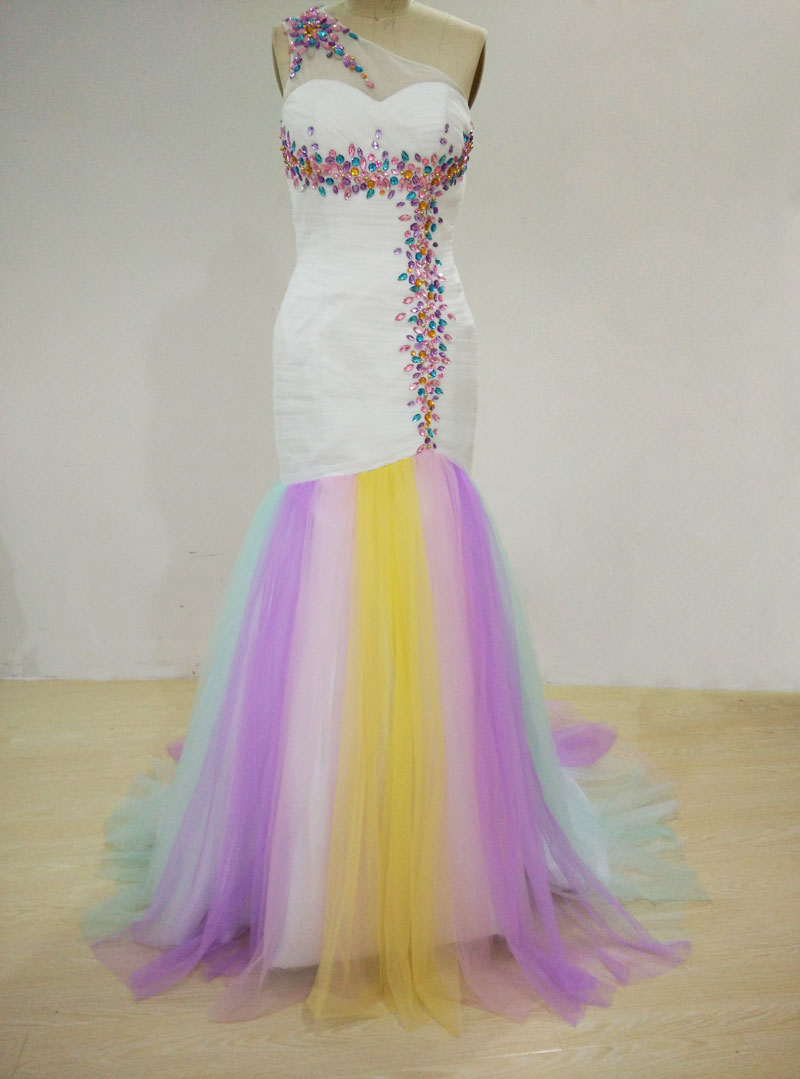 Dashing One Shoulder Mermaid Beaded Tulle Rainbow   Prom     Dresses