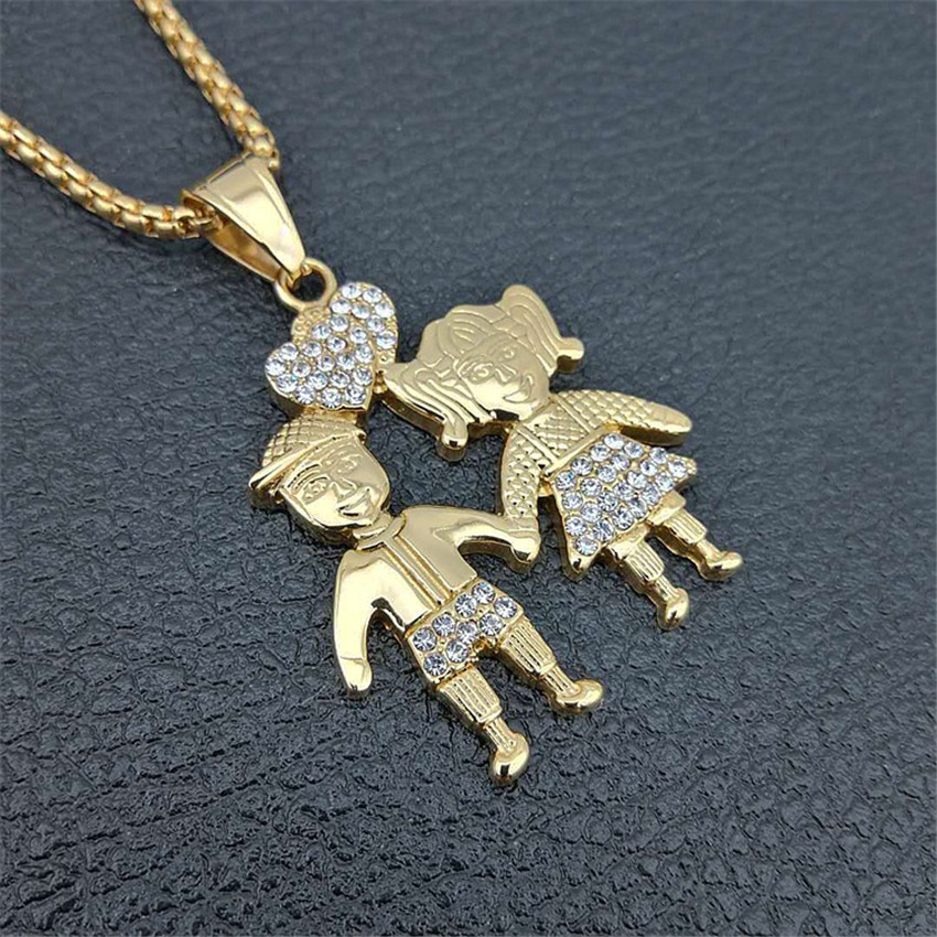 Image 3 - Gold Color Lovers Couple Pendant Necklaces Fashion 2018 Boys Girls Couple Necklaces Jewelry For Women Stainless Steel ChainPendant Necklaces   -