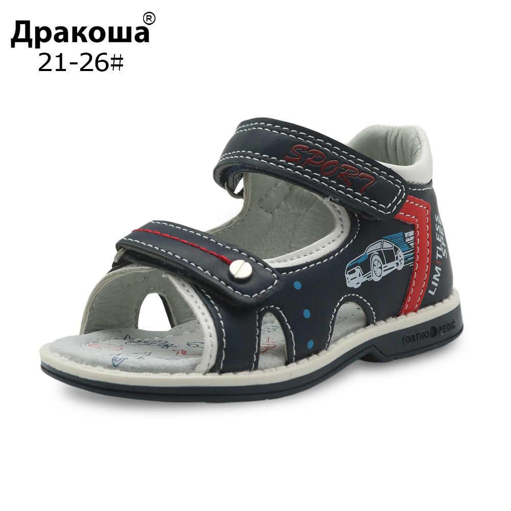 Apakowa ยี่ห้อชายรองเท้าใหม่ 2018 ฤดูร้อนเด็กวัยหัดเดินเด็กรองเท้าแตะศัลยกรรมกระดูก Pu หนังเด็กรองเท้าสำหรับชายแบนชายรองเท้าแตะ