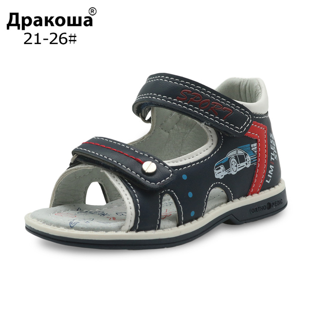 36e6d3c661db2 Apakowa Brand Boys Shoes New 2018 Summer Toddler Kids Sandals Orthopedic Pu  Leather Children s Shoes for Boys Flat Boys Sandals