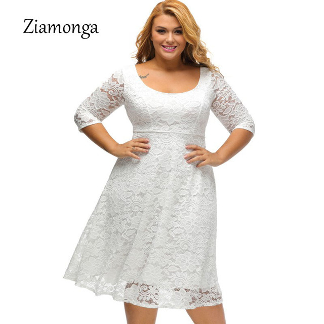 fb5e14e3f722f Ziamonga 2017 Black White Midi Plus Size Lace Dress XL XXXL Fit And Flare Pleated  Women Elegant Dresses Big Size Casual Dress-in Dresses from Women s ...