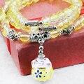 Мода полудрагоценный Камень Шарм 3 Строк Бисер Браслет Браслеты Ручной Цепи 6 мм Желтый Ювелирные Изделия Из Бисера браслет 36 см