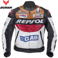 DUHAN DH02 Moto GP motorcycle REPSOL Racing Leather Jacket VS02 orange blue good pu leahter made high quality fast